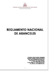 REGLAMENTO NACIONAL DE ARANCELES