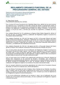REGLAMENTO ORGANICO FUNCIONAL DE LA PROCURADURIA GENERAL DEL ESTADO