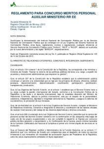 REGLAMENTO PARA CONCURSO MERITOS PERSONAL AUXILIAR MINISTERIO RR EE