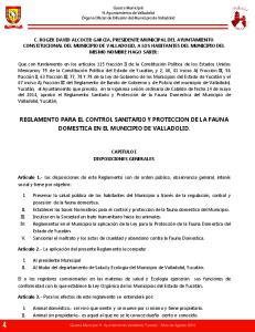 REGLAMENTO PARA EL CONTROL SANITARIO Y PROTECCION DE LA FAUNA DOMESTICA EN EL MUNICIPIO DE VALLADOLID