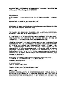 Reglamento para el Funcionamiento de Establecimientos Comerciales y de Servicios para el Municipio de Dolores Hidalgo