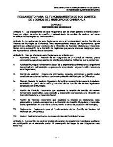 REGLAMENTO PARA EL FUNCIONAMIENTO DE LOS COMITES DE VECINOS DEL MUNICIPIO DE CHIHUAHUA