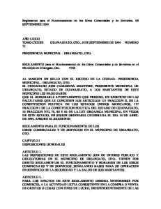 Reglamento para el Funcionamiento de los Giros Comerciales y de Servicios. 09 SEPTIEMBRE 1994