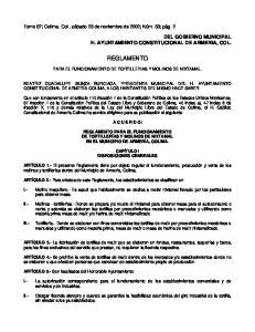 REGLAMENTO PARA EL FUNCIONAMIENTO DE TORTILLERIAS Y MOLINOS DE NIXTAMAL