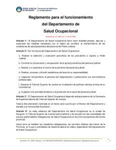 Reglamento para el funcionamiento del Departamento de Salud Ocupacional