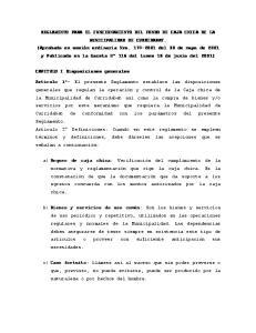 REGLAMENTO PARA EL FUNCIONAMIENTO DEL FONDO DE CAJA CHICA DE LA MUNICIPALIDAD DE CURRIDABAT