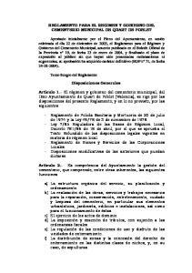 REGLAMENTO PARA EL REGIMEN Y GOBIERNO DEL CEMENTERIO MUNICIPAL DE QUART DE POBLET. Disposiciones Generales