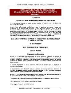 REGLAMENTO PARA EL SERVICIO DE TRANSPORTE DE PASAJEROS EN EL DISTRITO FEDERAL