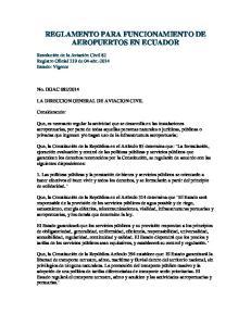 REGLAMENTO PARA FUNCIONAMIENTO DE AEROPUERTOS EN ECUADOR