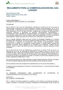 REGLAMENTO PARA LA COMERCIALIZACION DEL GAS LICUADO