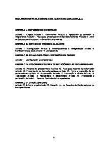 REGLAMENTO PARA LA DEFENSA DEL CLIENTE DE CAIXABANK,S.A