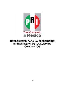 REGLAMENTO PARA LA ELECCIÓN DE DIRIGENTES Y POSTULACIÓN DE CANDIDATOS
