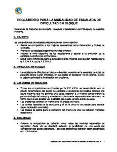 REGLAMENTO PARA LA MODALIDAD DE ESCALADA DE DIFICULTAD EN BLOQUE