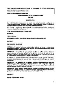 REGLAMENTO PARA LA PRESTACION DE SERVICIOS DE VALOR AGREGADO