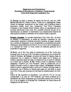 Reglamento para Propietarios y Normativa de Arquitectura, Urbanismo y Construcciones Huilo-Huilo Desarrollo Inmobiliario S.A