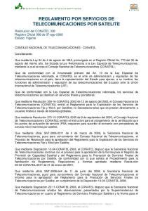 REGLAMENTO POR SERVICIOS DE TELECOMUNICACIONES POR SATELITE
