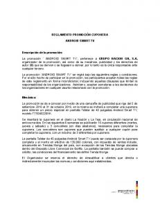 REGLAMENTO PROMOCIÓN CUPONERA ANDROID SMART TV