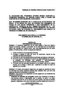 REGLAMENTO QUE REGULA LA TENENCIA DE ANIMALES, EN LINARES, N.L