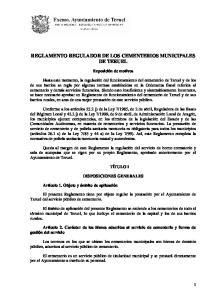 REGLAMENTO REGULADOR DE LOS CEMENTERIOS MUNICIPALES DE TERUEL