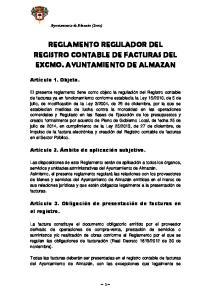 REGLAMENTO REGULADOR DEL REGISTRO CONTABLE DE FACTURAS DEL EXCMO. AYUNTAMIENTO DE ALMAZAN