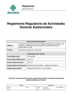 Reglamento Regulatorio de Actividades Docente Asistenciales