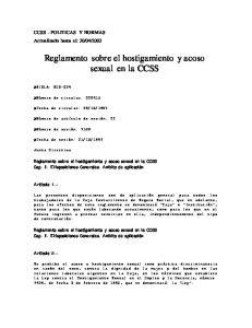 Reglamento sobre el hostigamiento y acoso sexual en la CCSS