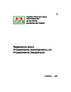 Reglamento sobre Procedimiento Administrativo y el Procedimiento Disciplinario