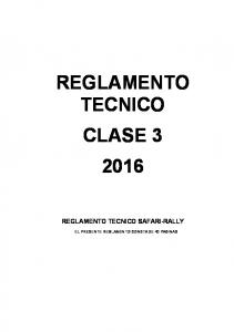 REGLAMENTO TECNICO CLASE REGLAMENTO TECNICO SAFARI-RALLY
