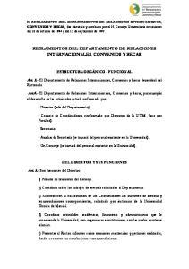 REGLAMENTOS DEL DEPARTAMENTO DE RELACIONES INTERNACIONALES, CONVENIOS Y BECAS