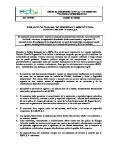 REGLAS DE CALIDAD, SALUD Y SEGURIDAD Y AMBIENTE PARA CONTRATISTAS DE LA ESPH, S.A