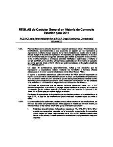 REGLAS de Carácter General en Materia de Comercio Exterior para 2011
