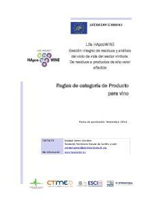 Reglas de categoría de Producto para vino