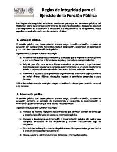 Reglas de Integridad para el Ejercicio de la Función Pública