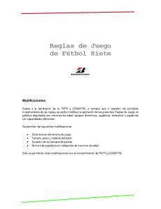 Reglas de Juego de Fútbol Siete