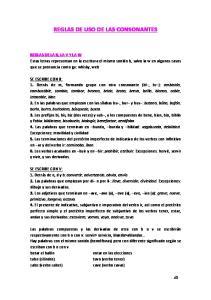 REGLAS DE USO DE LAS CONSONANTES