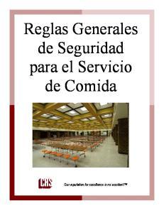 Reglas Generales de Seguridad para el Servicio de Comida