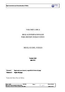 REGLAS INTERNACIONALES PARA HOCKEY SUBACUÁTICO