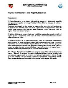 Reglas Internacionales para Rugby Subacuático