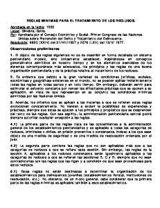 REGLAS MINIMAS PARA EL TRATAMIENTO DE LOS RECLUSOS