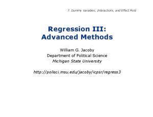 Regression III: Advanced Methods