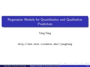 Regression Models for Quantitative and Qualitative Predictors