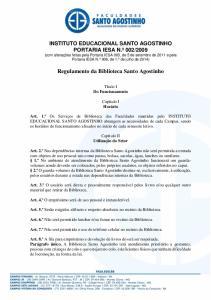 Regulamento da Biblioteca Santo Agostinho