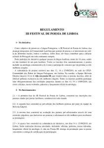 REGULAMENTO III FESTIVAL DE POESIA DE LISBOA