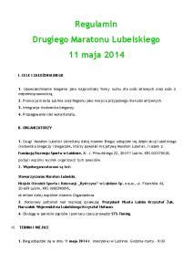 Regulamin Drugiego Maratonu Lubelskiego 11 maja 2014