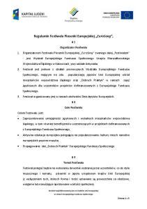Regulamin Festiwalu Piosenki Europejskiej EuroSong,