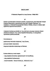 REGULAMIN. II Festiwalu Piosenki im. Anny German - Miñsk 2013
