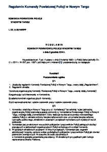 Regulamin Komendy Powiatowej Policji w Nowym Targu