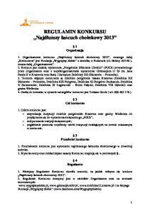 REGULAMIN KONKURSU. Organizacja