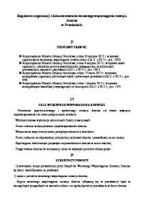 Regulamin organizacji i dokumentowania wczesnego wspomagania rozwoju dziecka w Przedszkolu