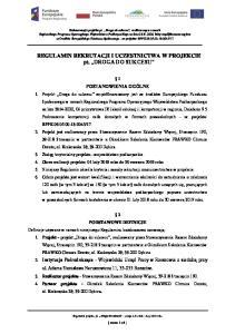REGULAMIN REKRUTACJI I UCZESTNICTWA W PROJEKCIE pt. DROGA DO SUKCESU